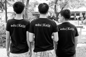 Our students in eduKate T shirts. Waiting for our community development event to begin.