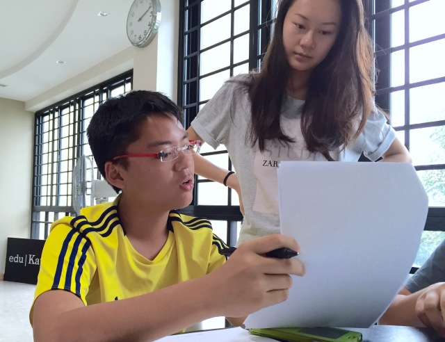 SEAB Syllabus GCE O levels English with Maris Stella Student. Student Counsellor guiding on Situational Writing