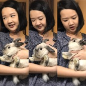 Tutor Yuet Lign with Bubbles, our resident rabbit. Feisty little bunny tries to escape...