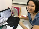 Tutor Yuet Ling in the Office working on new materials. We customise all our classes for our students.